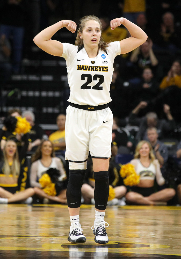 Iowa Hawkeyes guard Kathleen Doyle (22) is pumped up after a score during the second quarter of their second round game in the 2019 NCAA Women's Basketball Tournament at Carver Hawkeye Arena in Iowa City on Sunday, Mar. 24, 2019. (Stephen Mally for hawkeyesports.com)