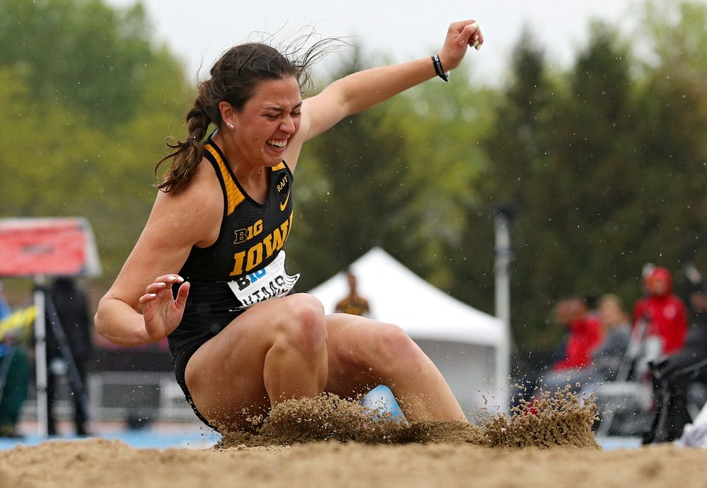 Iowa's Jenny Kimbro jumps in the women's long jump in the heptathlon event on the second day of the Big Ten Outdoor Track and Field Championships at Francis X. Cretzmeyer Track in Iowa City on Saturday, May. 11, 2019. (Stephen Mally/hawkeyesports.com)