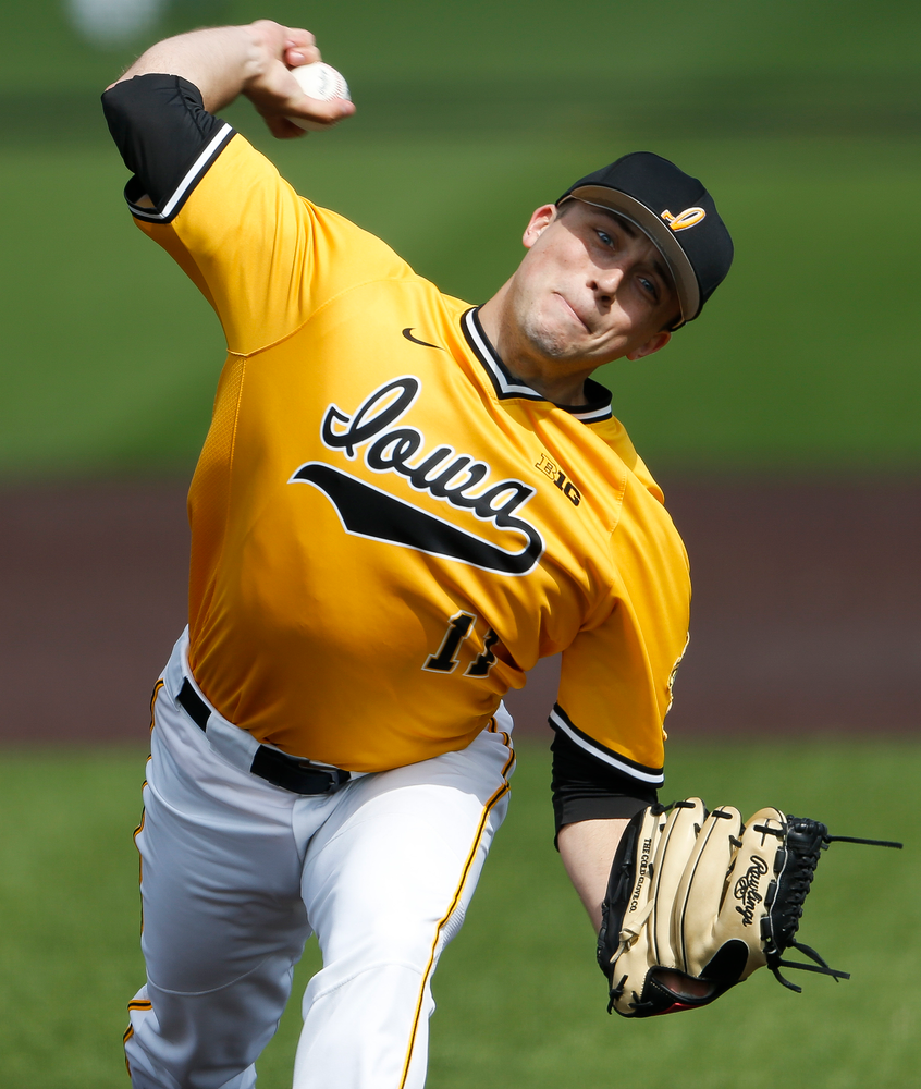 Iowa Hawkeyes pitcher Cole McDonald (11) pitches during a game against Evansville at Duane Banks Field on March 18, 2018. (Tork Mason/hawkeyesports.com)