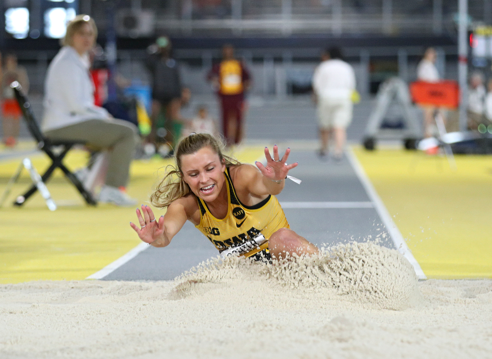 Iowa's Hannah Schilb competes in the women's triple jump event during the Larry Wieczorek Invitational at the Recreation Building in Iowa City on Saturday, January 18, 2020. (Stephen Mally/hawkeyesports.com)