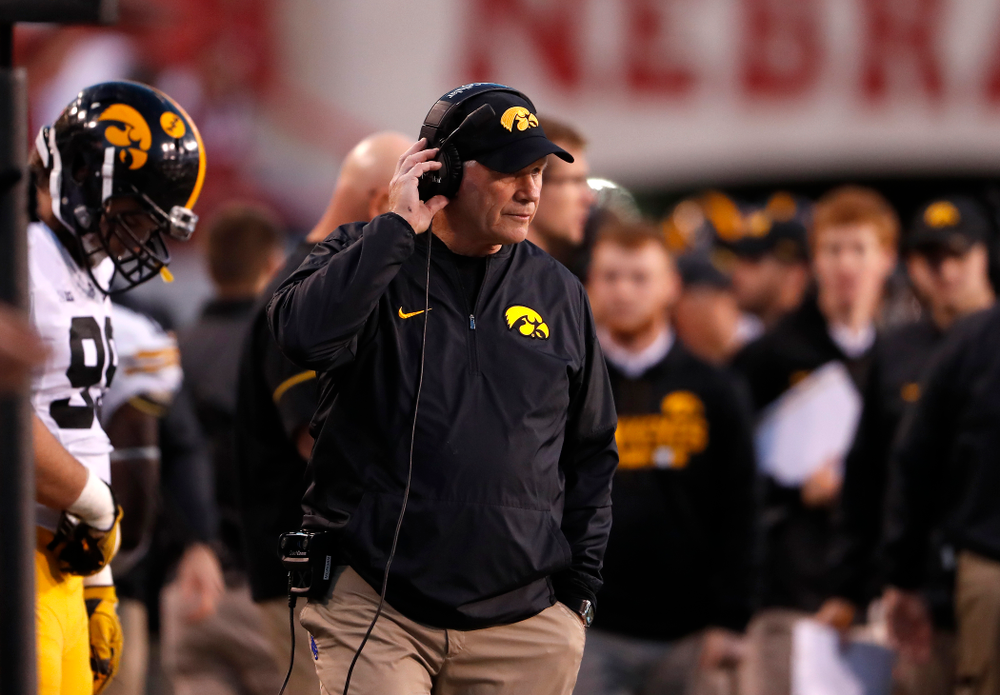 Iowa Hawkeyes defensive line coach Reese Morgan against the Nebraska Cornhuskers Friday, November 24, 2017 at Memorial Stadium in Lincoln, Neb. (Brian Ray/hawkeyesports.com)