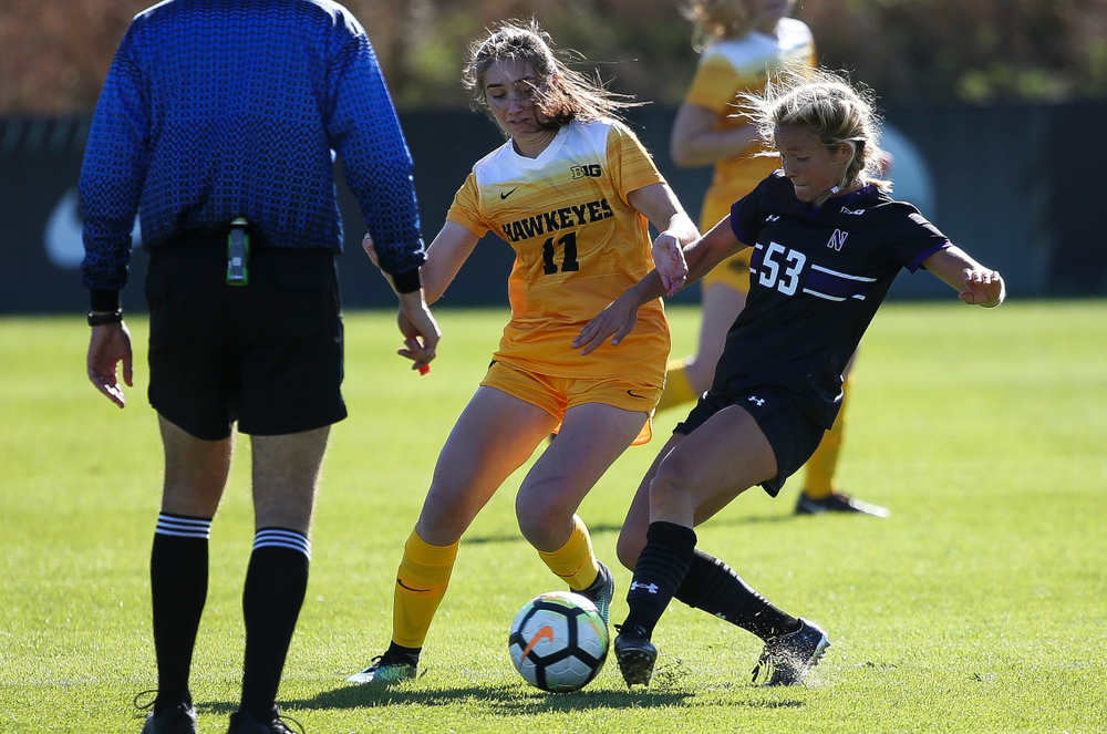 Iowa Hawkeyes midfielder Sydney Blitchok (11) dribbles the ball during a game against Northwestern at the Iowa Soccer Complex on October 21, 2018. (Tork Mason/hawkeyesports.com)