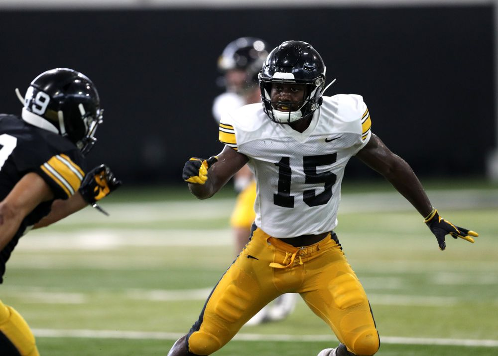 Iowa Hawkeyes defensive back Dallas Craddieth (15) during Fall Camp Practice No. 6 Thursday, August 8, 2019 at the Ronald D. and Margaret L. Kenyon Football Practice Facility. (Brian Ray/hawkeyesports.com)