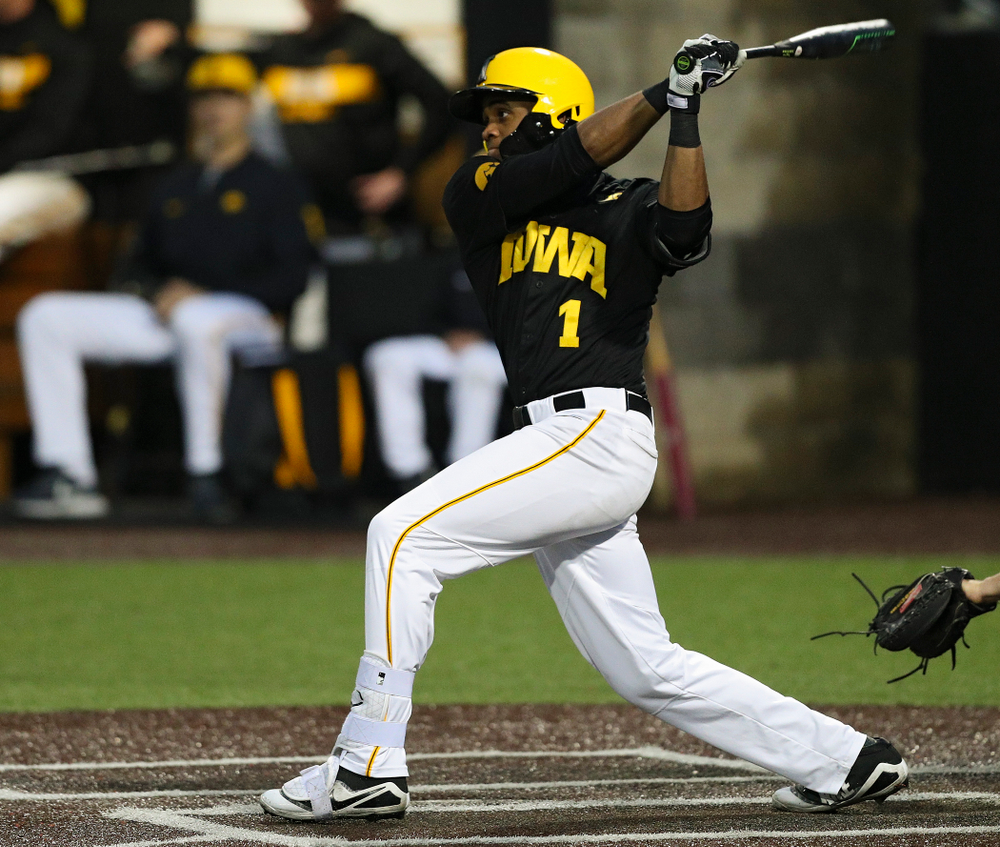 Iowa Hawkeyes third baseman Lorenzo Elion (1) hits an RBI double during the sixth inning of their game against Western Illinois at Duane Banks Field in Iowa City on Wednesday, May. 1, 2019. (Stephen Mally/hawkeyesports.com)