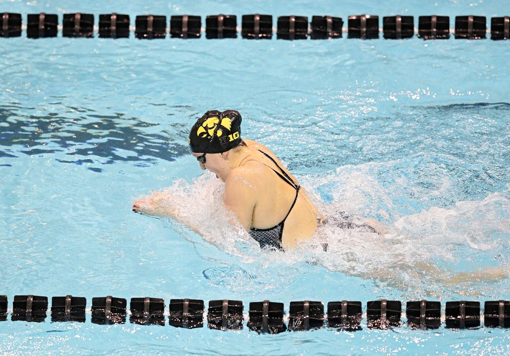 Iowa's Millie Sansome swims the women's 100 yard individual medley event during their meet at the Campus Recreation and Wellness Center in Iowa City on Friday, February 7, 2020. (Stephen Mally/hawkeyesports.com)