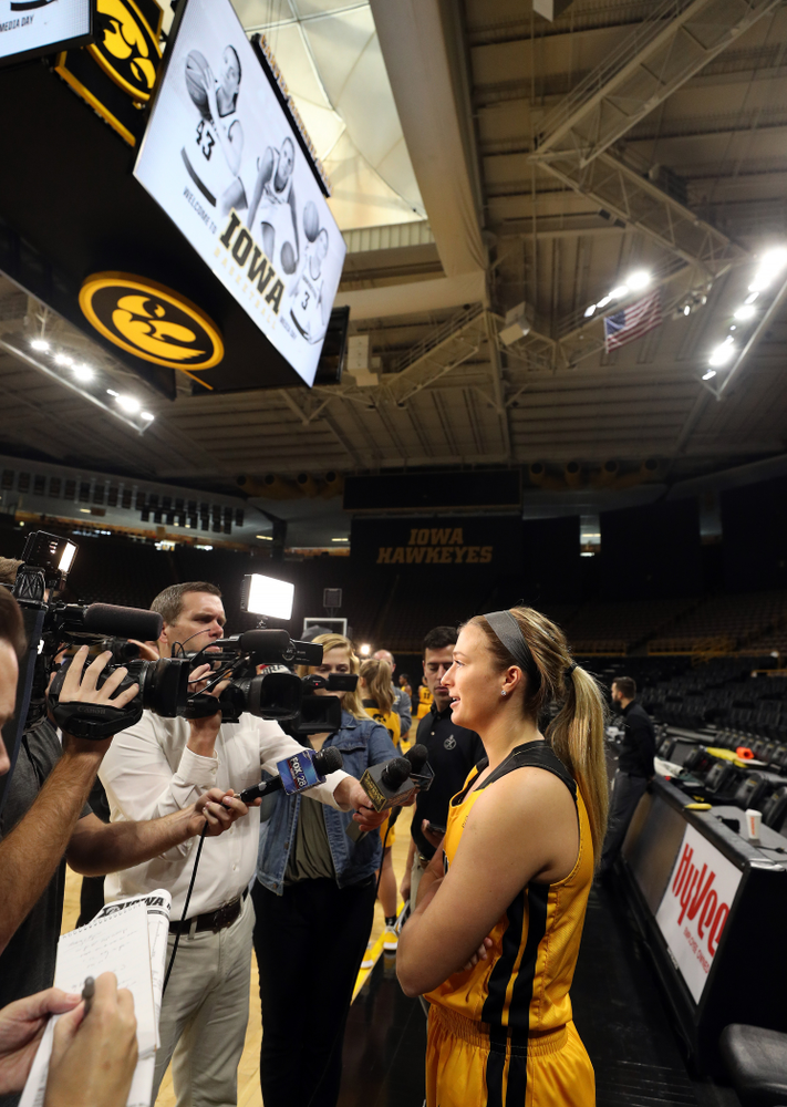 Iowa Hawkeyes guard Makenzie Meyer (3) during the teamÕs annual media day Thursday, October 24, 2019 at Carver-Hawkeye Arena. (Brian Ray/hawkeyesports.com)