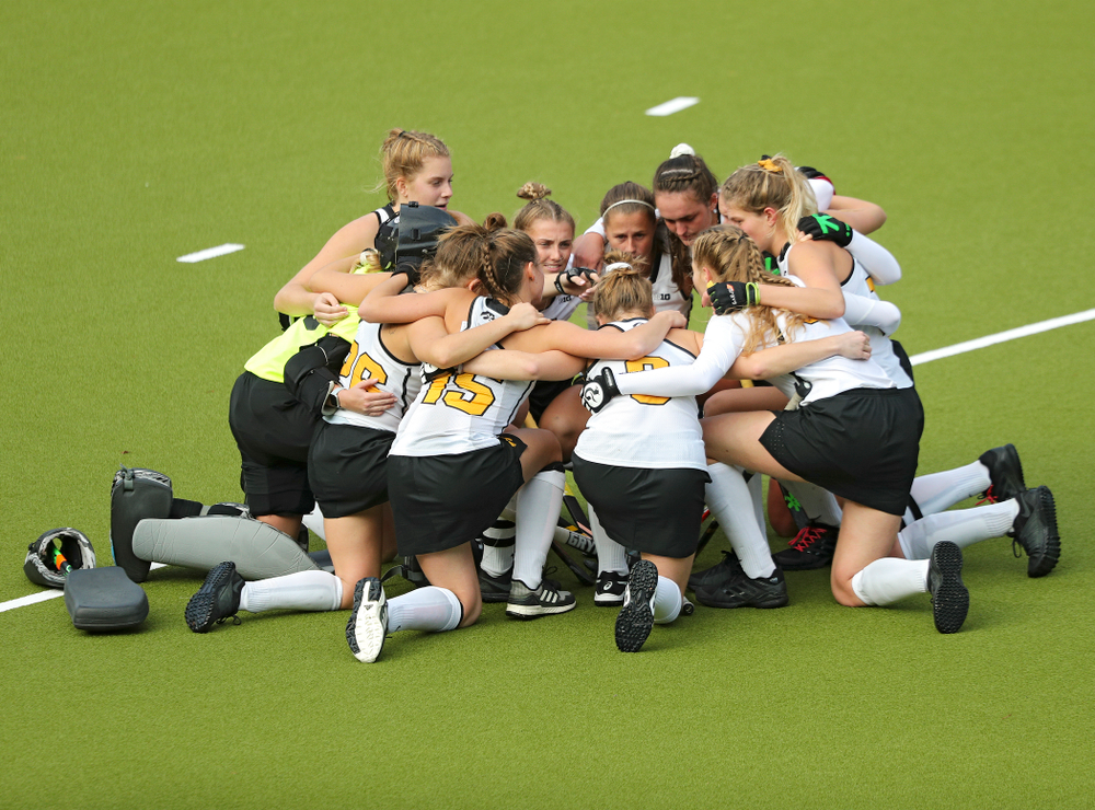 The Hawkeyes huddle during the third quarter of their NCAA Tournament Second Round match against North Carolina at Karen Shelton Stadium in Chapel Hill, N.C. on Sunday, Nov 17, 2019. (Stephen Mally/hawkeyesports.com)