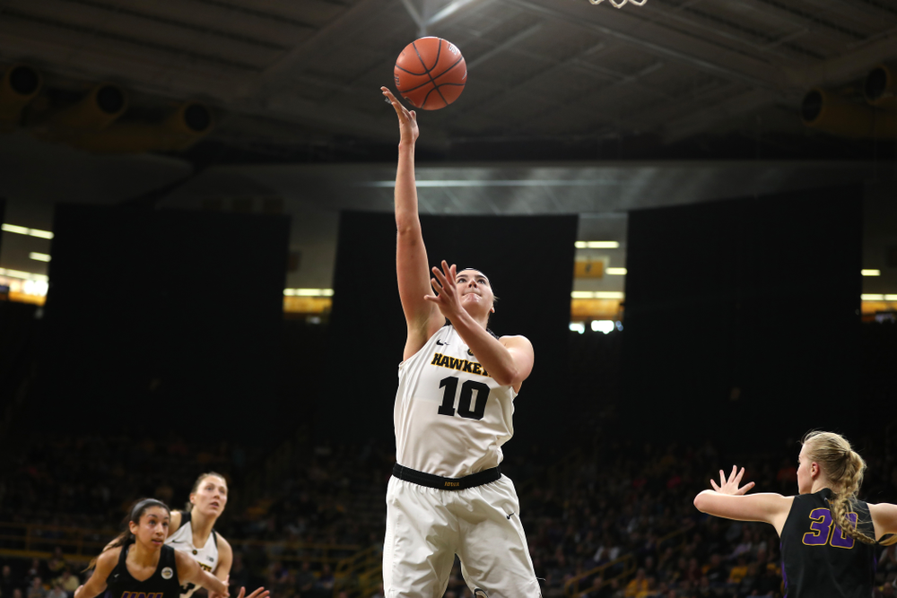 Iowa Hawkeyes forward Megan Gustafson (10) against the Northern Iowa Panthers in the Hy-Vee Classic Sunday, December 16, 2018 at Carver-Hawkeye Arena. (Brian Ray/hawkeyesports.com)