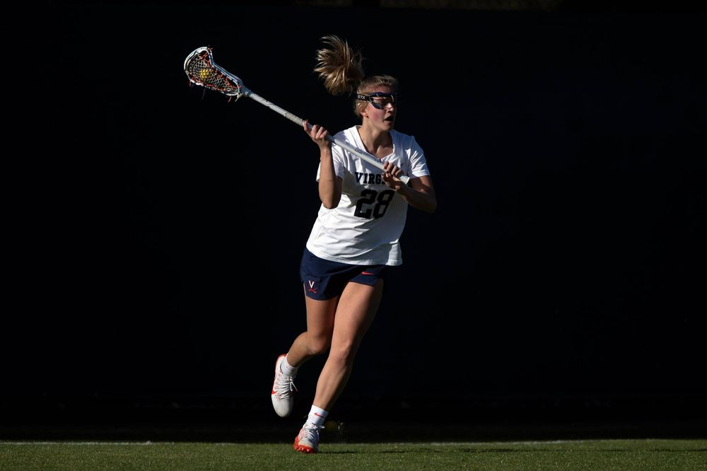 STANFORD, California - FEBRUARY 14:  Virginia Cavaliers midfield Nora Bowen (28) during the first half against the Stanford Cardinal at Cagan Stadium on February 14, 2020 in Stanford, California. The Virginia Cavaliers defeated the Stanford Cardinal 12-11. (Photo by Jason O. Watson)