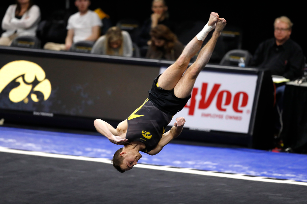 Iowa's Dylan Ellsworth competes on the floor