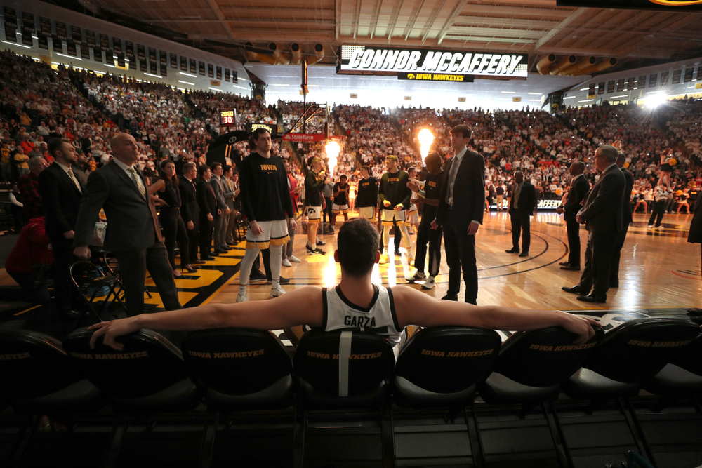 Iowa Hawkeyes forward Luka Garza (55) is introduced before their game against the Illinois Fighting Illini Sunday, February 2, 2020 at Carver-Hawkeye Arena. (Brian Ray/hawkeyesports.com)