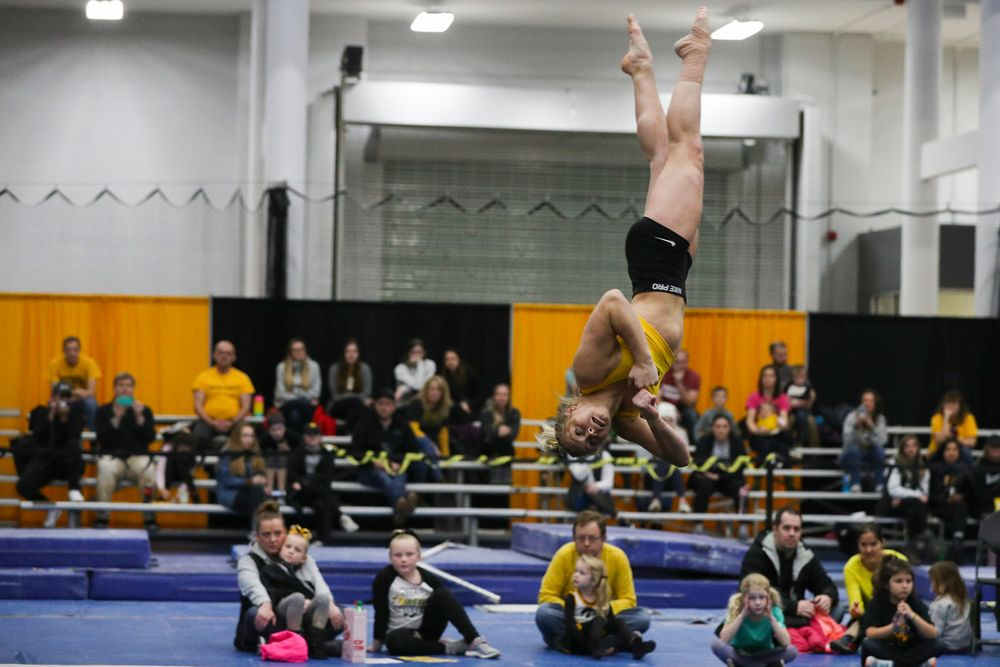 Madelyn Soloman performs a floor routine during the Iowa women's gymnastics Black and Gold Intraquad Meet on Saturday, December 7, 2019 at the UI Field House. (Lily Smith/hawkeyesports.com)