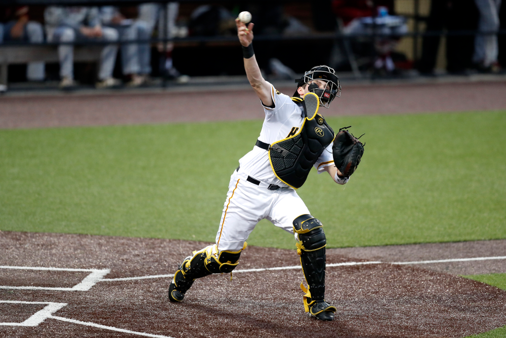Iowa Hawkeyes catcher Brett McCleary (32) against Coe College Wednesday, April 11, 2018 at Duane Banks Field. (Brian Ray/hawkeyesports.com)