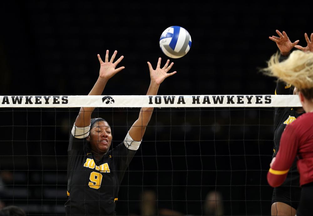 Iowa Hawkeyes middle blocker Amiya Jones (9) against the Iowa State Cyclones Saturday, September 21, 2019 at Carver-Hawkeye Arena. (Brian Ray/hawkeyesports.com)