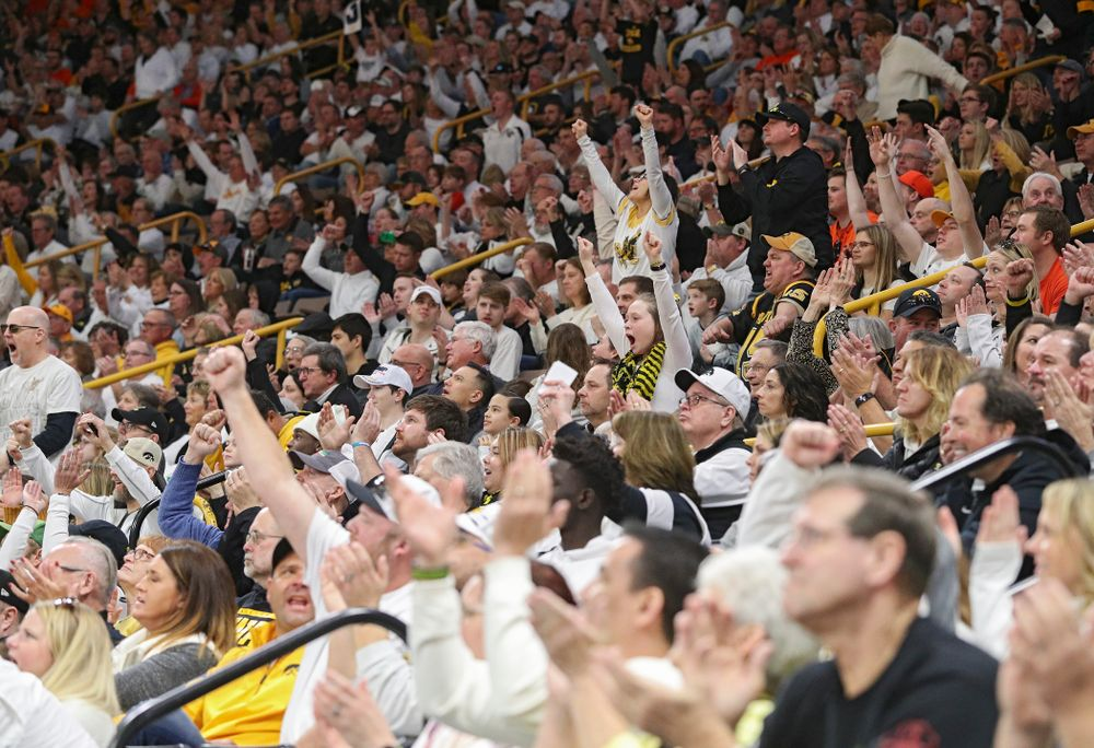 Iowa fans cheer during the second half of the game at Carver-Hawkeye Arena in Iowa City on Sunday, February 2, 2020. (Stephen Mally/hawkeyesports.com)