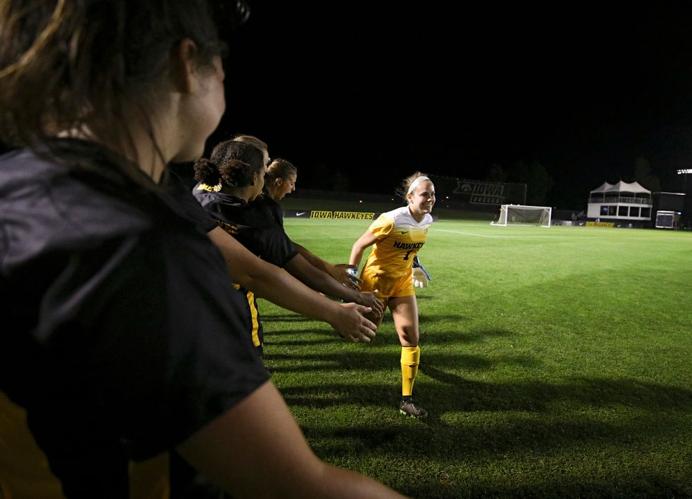 Iowa goalkeeper Claire Graves (1) is introduced before their match against Illinois at the Iowa Soccer Complex in Iowa City on Thursday, Sep 26, 2019. (Stephen Mally/hawkeyesports.com)