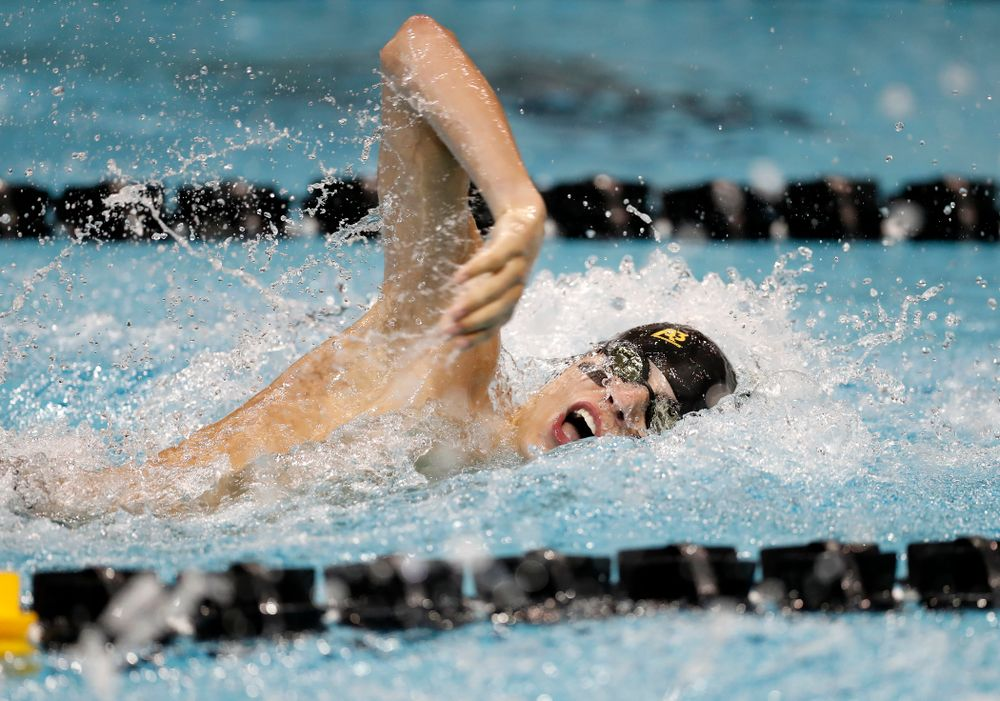Andrew Fierke swims the 200 yard freestyle during the Black and Gold Intrasquad Saturday, September 29, 2018 at the Campus Recreation and Wellness Center. (Brian Ray/hawkeyesports.com)