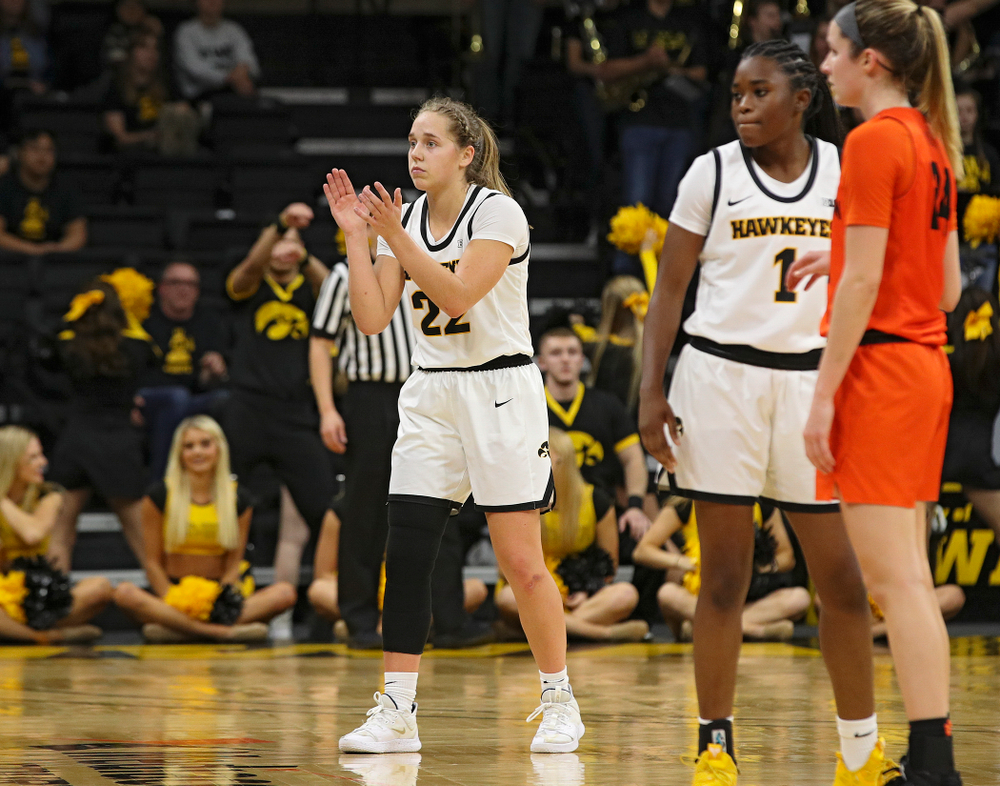 Iowa guard Kathleen Doyle (22) claps during the fourth quarter of their overtime win against Princeton at Carver-Hawkeye Arena in Iowa City on Wednesday, Nov 20, 2019. (Stephen Mally/hawkeyesports.com)