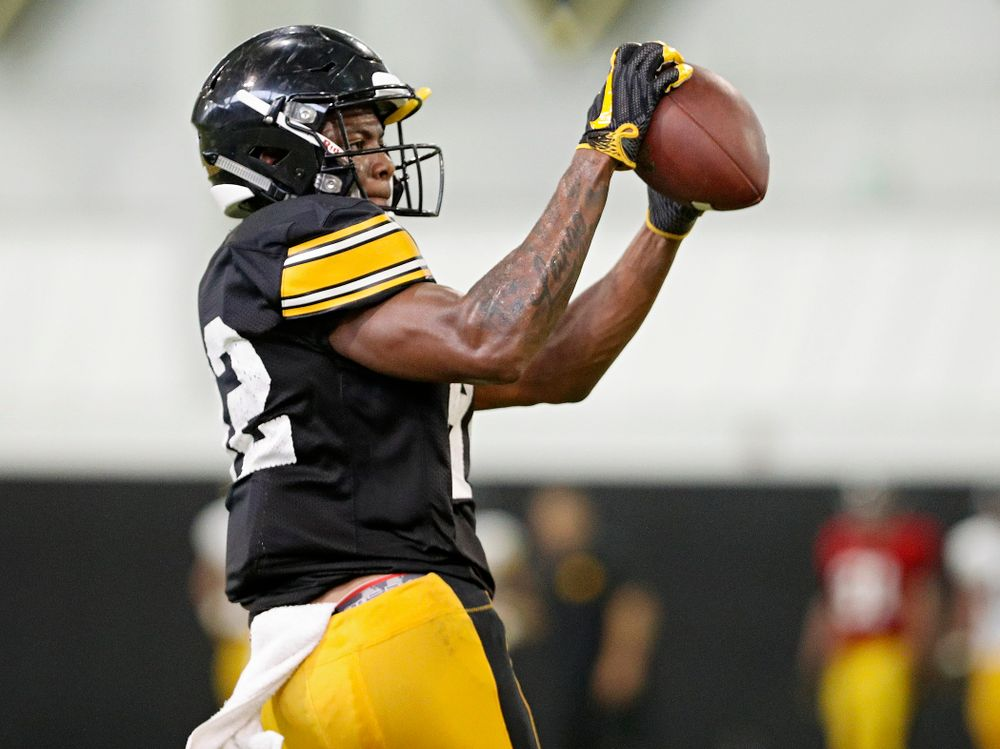 Iowa Hawkeyes wide receiver Calvin Lockett (82) pulls in a pass during Fall Camp Practice No. 6 at the Hansen Football Performance Center in Iowa City on Thursday, Aug 8, 2019. (Stephen Mally/hawkeyesports.com)