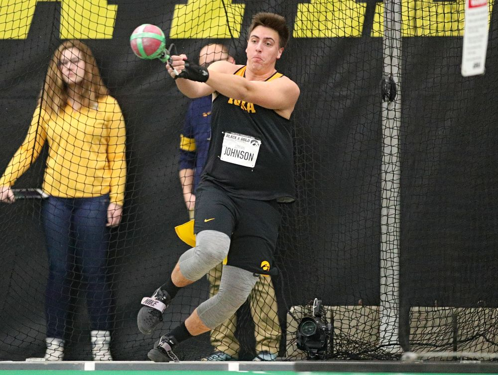 Iowa's Jordan Johnson throws during the men's weight throw event at the Hawkeye Tennis and Recreation Complex in Iowa City on Friday, January 31, 2020. (Stephen Mally/hawkeyesports.com)