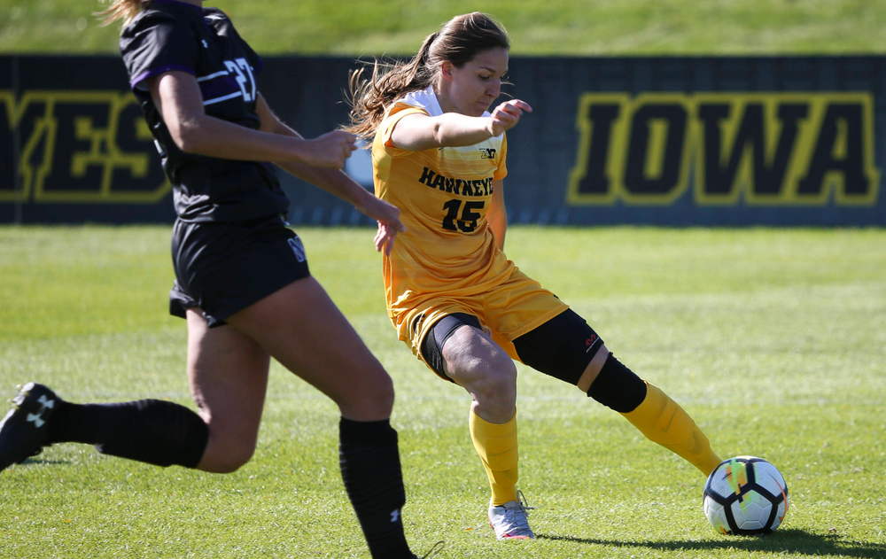 Iowa Hawkeyes forward Rose Ripslinger (15) dribbles the ball during a game against Northwestern at the Iowa Soccer Complex on October 21, 2018. (Tork Mason/hawkeyesports.com)