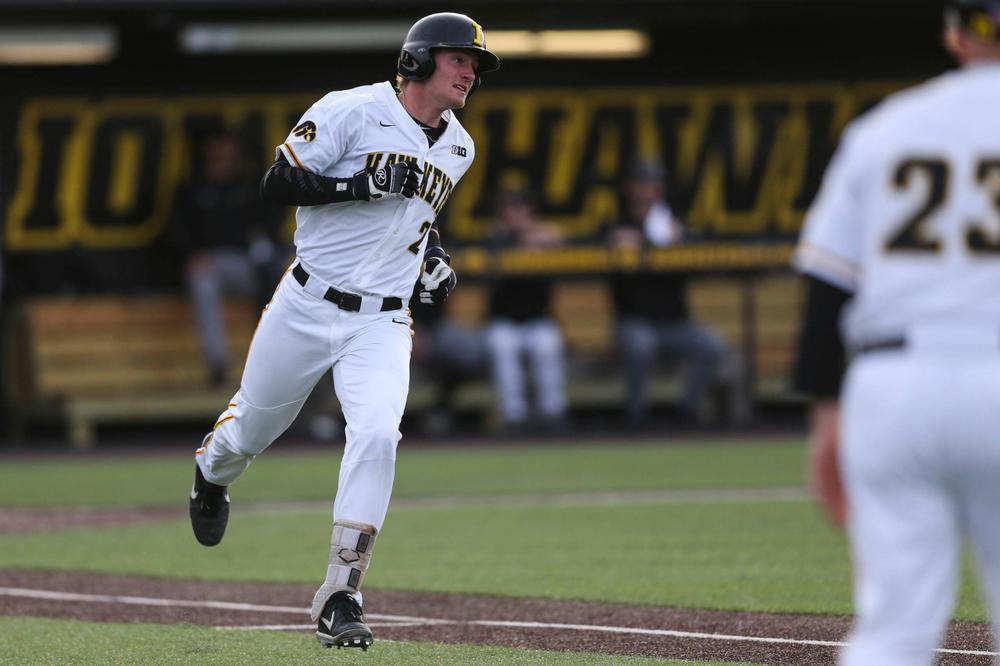 Iowa infielder Chris Whelan  at baseball vs Milwaukee on Tuesday, April 23, 2019 at Duane Banks Field. (Lily Smith/hawkeyesports.com)