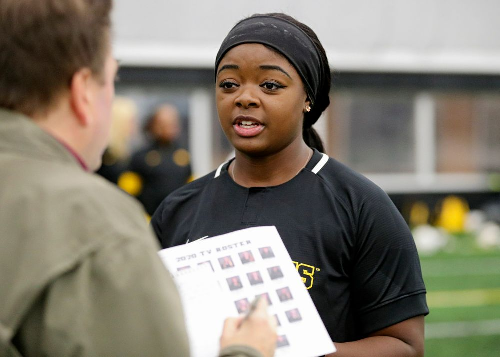 Iowa infielder/pitcher DoniRae Mayhew (24) answers questions during Iowa Softball Media Day at the Hawkeye Tennis and Recreation Complex in Iowa City on Thursday, January 30, 2020. (Stephen Mally/hawkeyesports.com)