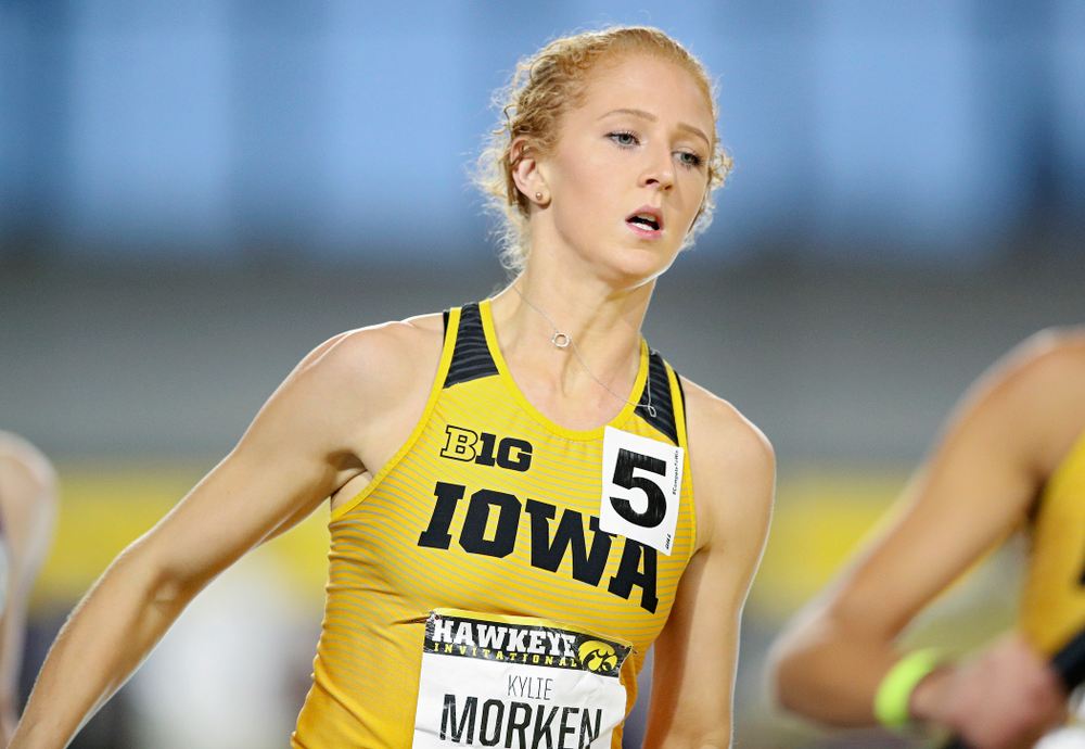 Iowa's Kylie Morken runs the women's 1600 meter relay event during the Hawkeye Invitational at the Recreation Building in Iowa City on Saturday, January 11, 2020. (Stephen Mally/hawkeyesports.com)