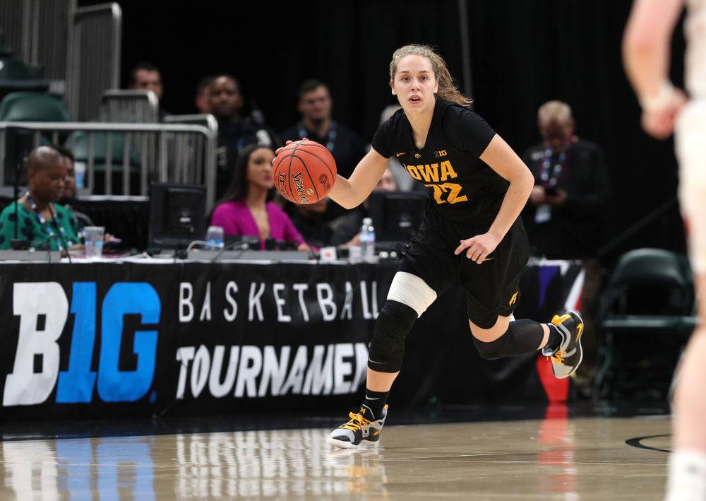Iowa Hawkeyes guard Kathleen Doyle (22) against the Maryland Terrapins Sunday, March 10, 2019 at Bankers Life Fieldhouse in Indianapolis, Ind. (Brian Ray/hawkeyesports.com)