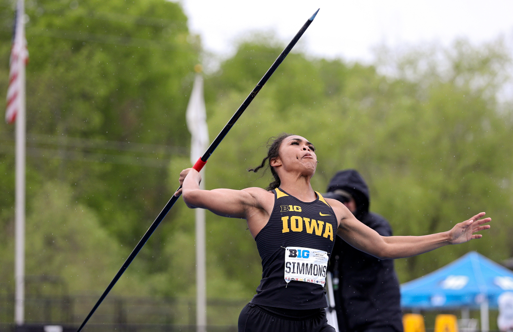 Iowa's Tria Simmons throws in the women's javelin in the heptathlon event on the second day of the Big Ten Outdoor Track and Field Championships at Francis X. Cretzmeyer Track in Iowa City on Saturday, May. 11, 2019. (Stephen Mally/hawkeyesports.com)