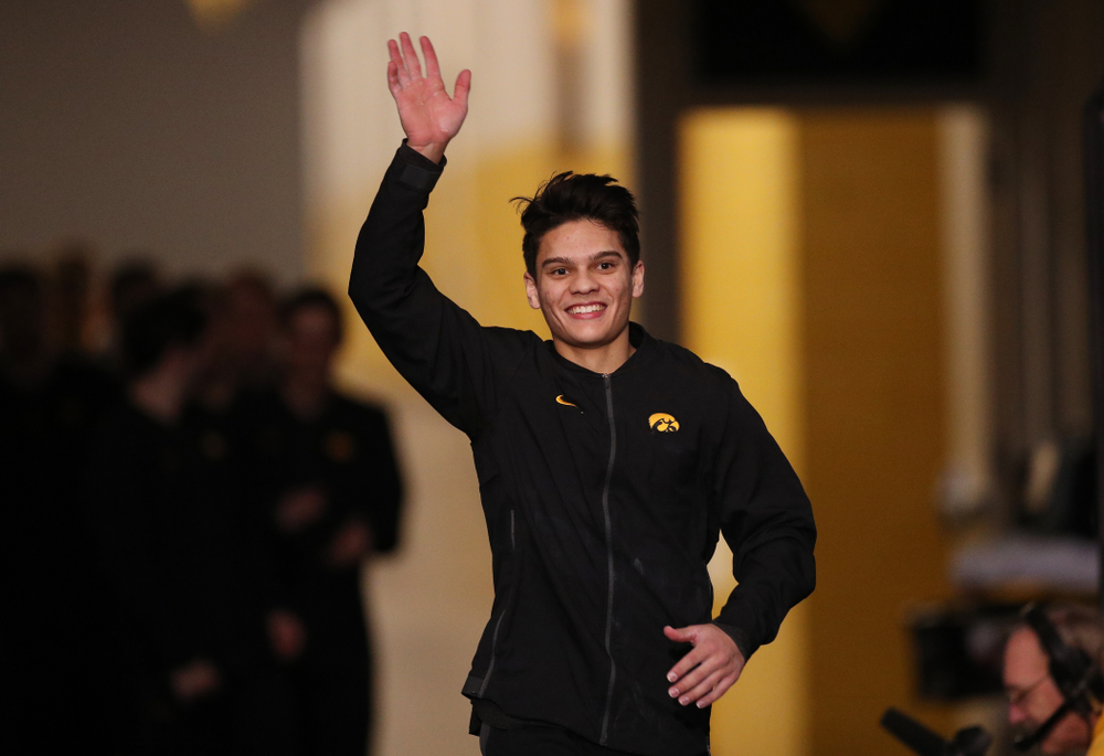 Iowa's Evan Davis is introduced before their meet against Oklahoma Saturday, February 9, 2019 at Carver-Hawkeye Arena. (Brian Ray/hawkeyesports.com)