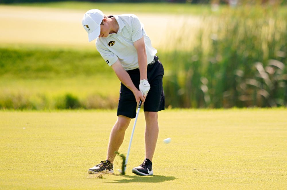 Iowa's Matthew Garside hits from the fairway during the second day of the Golfweek Conference Challenge at the Cedar Rapids Country Club in Cedar Rapids on Monday, Sep 16, 2019. (Stephen Mally/hawkeyesports.com)