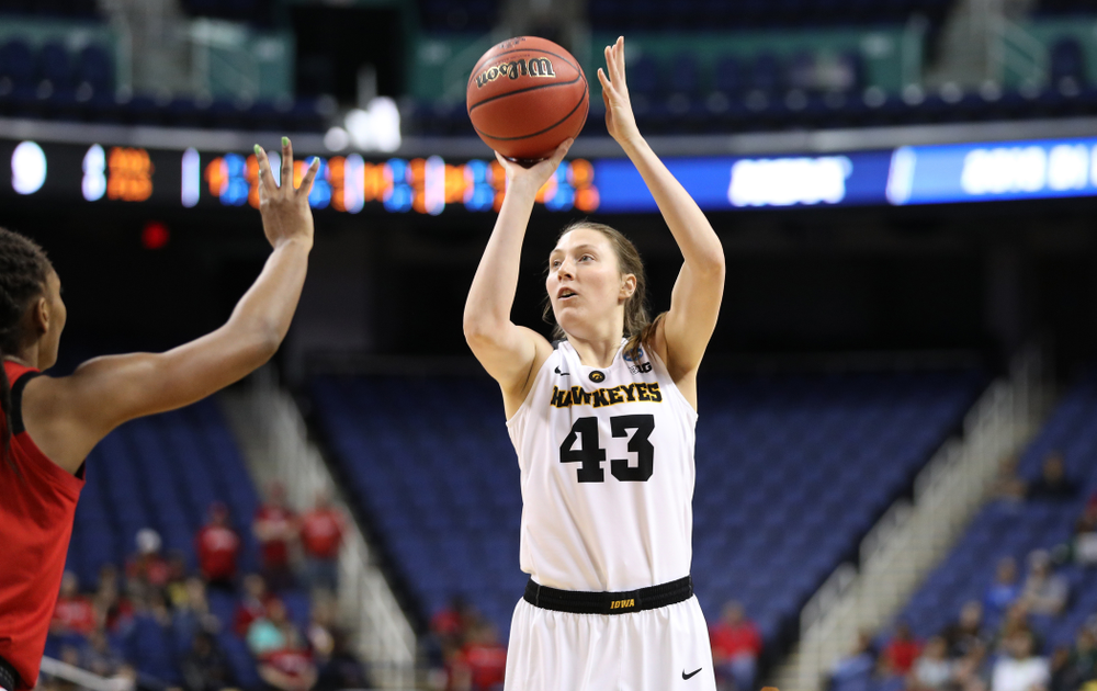 Iowa Hawkeyes forward Amanda Ollinger (43) against the NC State Wolfpack in the regional semi-final of the 2019 NCAA Women's College Basketball Tournament Saturday, March 30, 2019 at Greensboro Coliseum in Greensboro, NC.(Brian Ray/hawkeyesports.com)