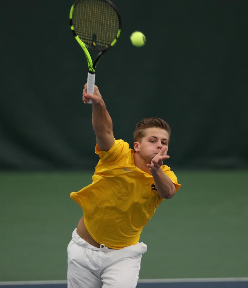 against Utah Sunday, February 10, 2019 at the Hawkeye Tennis and Recreation Complex. (Brian Ray/hawkeyesports.com)