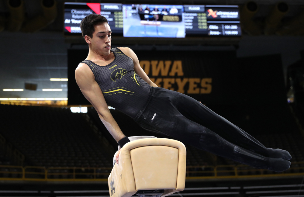 Iowa's Andrew Herrador competes on the Pommel Horse against Oklahoma Saturday, February 9, 2019 at Carver-Hawkeye Arena. (Brian Ray/hawkeyesports.com)