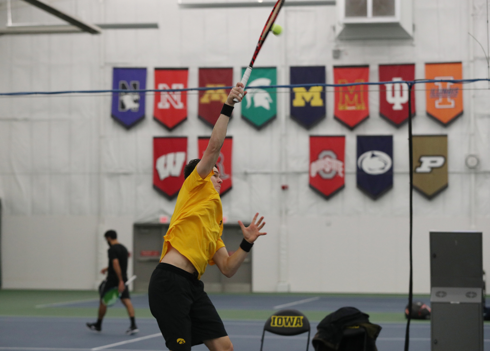 Jonas Larsen against the Butler Bulldogs Sunday, January 27, 2019 at the Hawkeye Tennis and Recreation Complex. (Brian Ray/hawkeyesports.com)