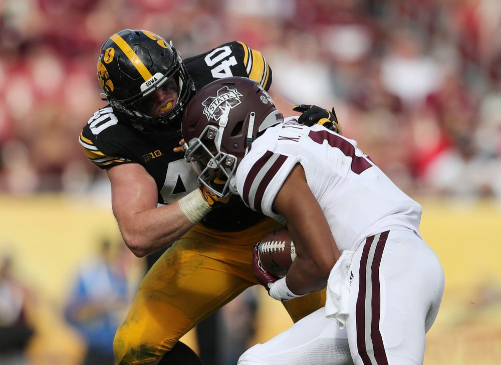 Iowa Hawkeyes defensive end Parker Hesse (40) during the Outback Bowl Tuesday, January 1, 2019 at Raymond James Stadium in Tampa, FL. (Brian Ray/hawkeyesports.com)