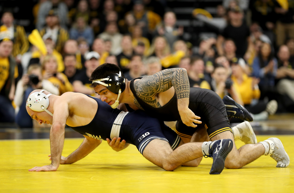 Iowa's Pat Lugo wrestles Penn State's Jarod Verkleeren at 149 pounds Friday, January 31, 2020 at Carver-Hawkeye Arena. Lugo defeated Verkleeren 6-1. (Brian Ray/hawkeyesports.com)