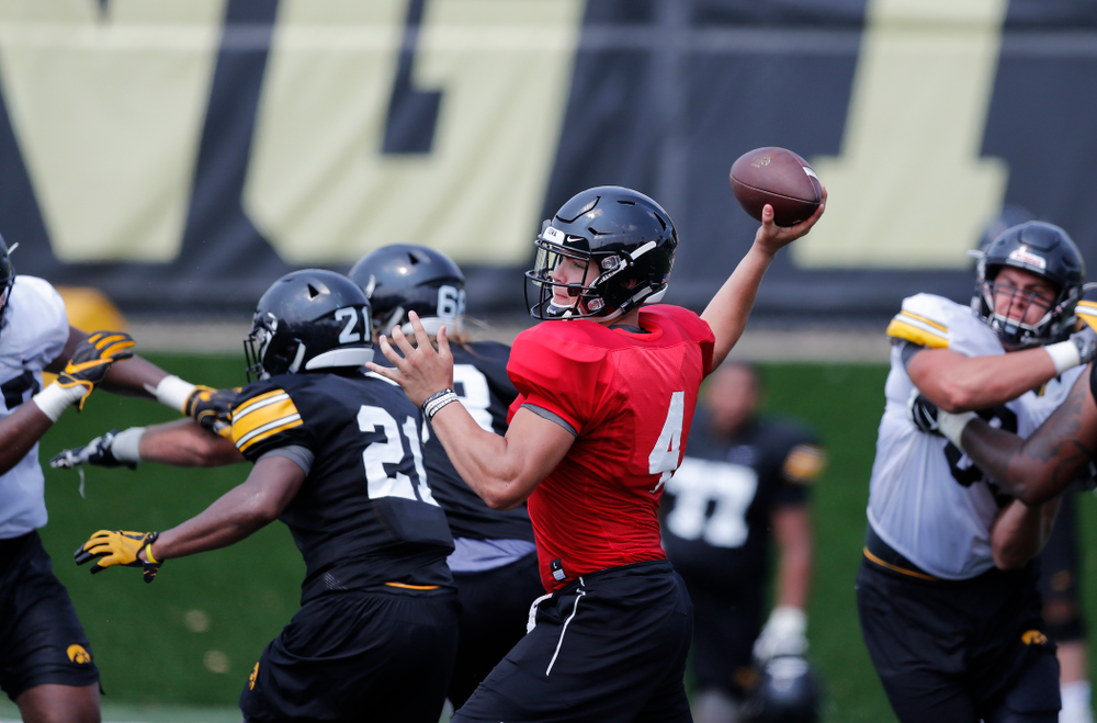 Iowa Hawkeyes quarterback Nathan Stanley (4) during fall camp practice No. 9 Friday, August 10, 2018 at the Kenyon Practice Facility. (Brian Ray/hawkeyesports.com)