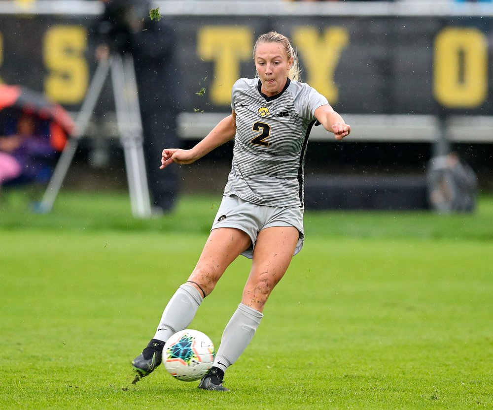 Iowa midfielder Hailey Rydberg (2) scores a goal during the first half of their match at the Iowa Soccer Complex in Iowa City on Sunday, Sep 29, 2019. (Stephen Mally/hawkeyesports.com)