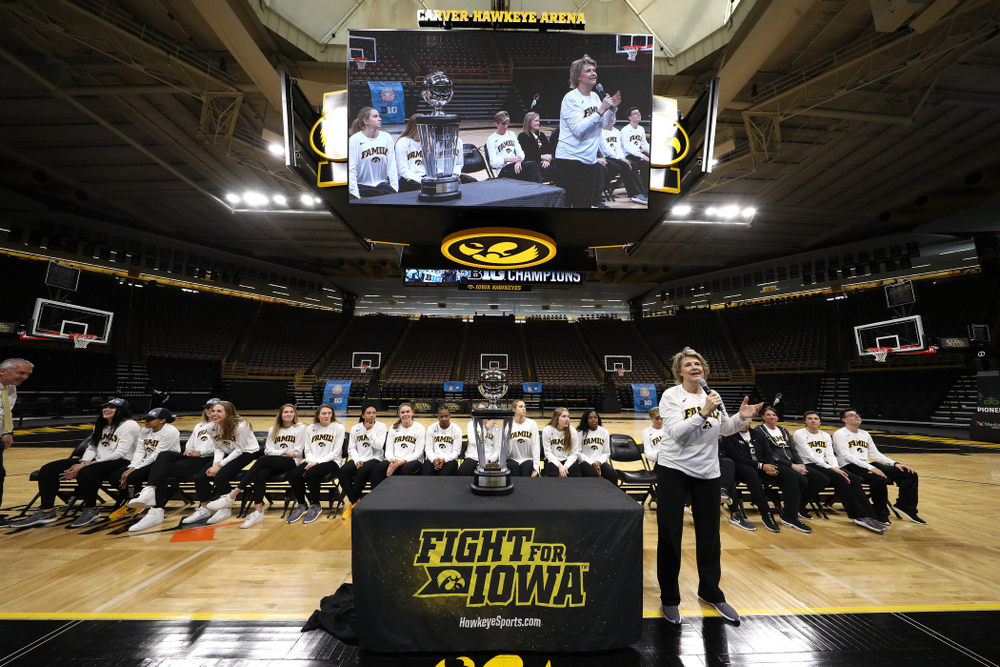 Iowa Hawkeyes head coach Lisa Bluder during a celebration of their Big Ten Women's Basketball Tournament championship Monday, March 18, 2019 at Carver-Hawkeye Arena. (Brian Ray/hawkeyesports.com)