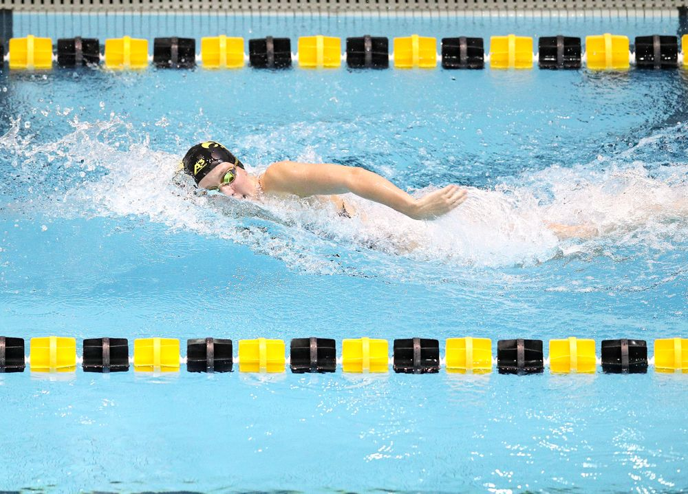 Iowa's Macy Rink swims the women's 50 yard freestyle event during their meet at the Campus Recreation and Wellness Center in Iowa City on Friday, February 7, 2020. (Stephen Mally/hawkeyesports.com)