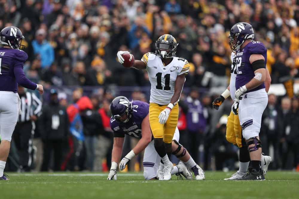Iowa Hawkeyes defensive back Michael Ojemudia (11) against the Northwestern Wildcats Saturday, October 26, 2019 at Ryan Field in Evanston, Ill. (Brian Ray/hawkeyesports.com)