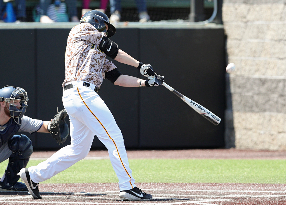 Iowa Hawkeyes right fielder Zeb Adreon (5) bats during the first inning of their game against UC Irvine at Duane Banks Field in Iowa City on Sunday, May. 5, 2019. (Stephen Mally/hawkeyesports.com)