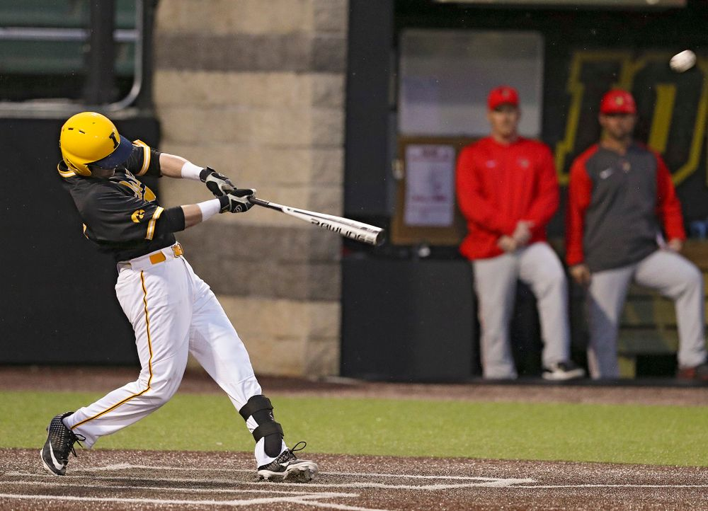 Iowa Hawkeyes left fielder Chris Whelan (28) hits a 3-run home run during the ninth inning of their game against Illinois State at Duane Banks Field in Iowa City on Wednesday, Apr. 3, 2019. (Stephen Mally/hawkeyesports.com)