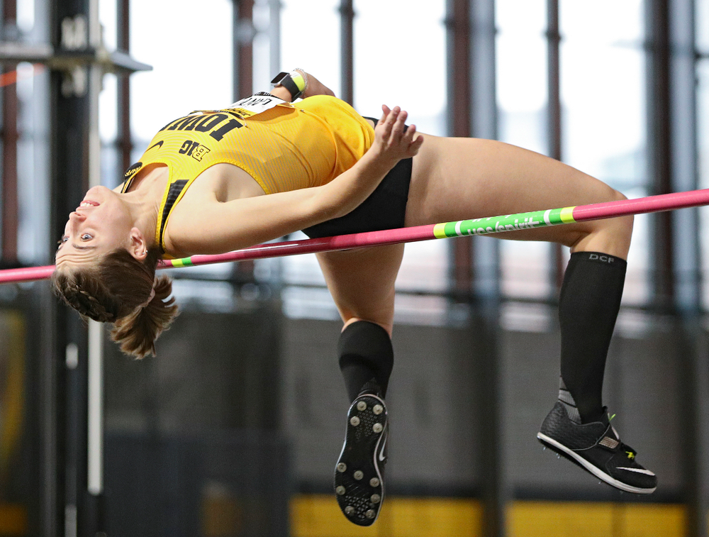 Iowa's Aubrianna Lantrip competes in the women's high jump event during the Jimmy Grant Invitational at the Recreation Building in Iowa City on Saturday, December 14, 2019. (Stephen Mally/hawkeyesports.com)