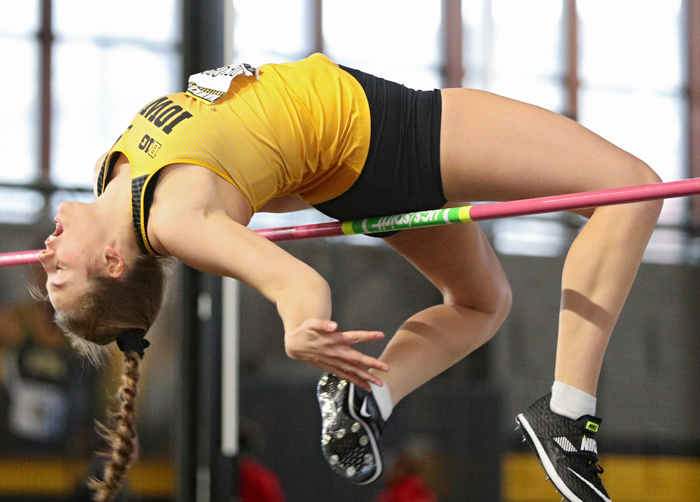 Iowa's Kelli DeGeorge competes in the women's high jump event during the Hawkeye Invitational at the Recreation Building in Iowa City on Saturday, January 11, 2020. (Stephen Mally/hawkeyesports.com)