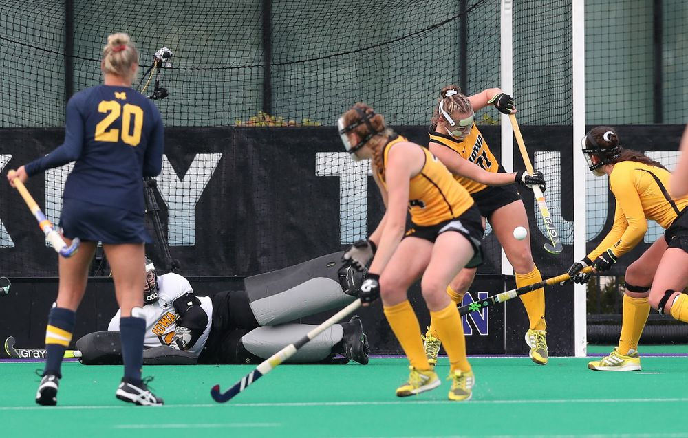 Iowa Hawkeyes Katie Birch (11) makes a stop on a penalty corner against the Michigan Wolverines in the semi-finals of the Big Ten Tournament Friday, November 2, 2018 at Lakeside Field on the campus of Northwestern University in Evanston, Ill. (Brian Ray/hawkeyesports.com)