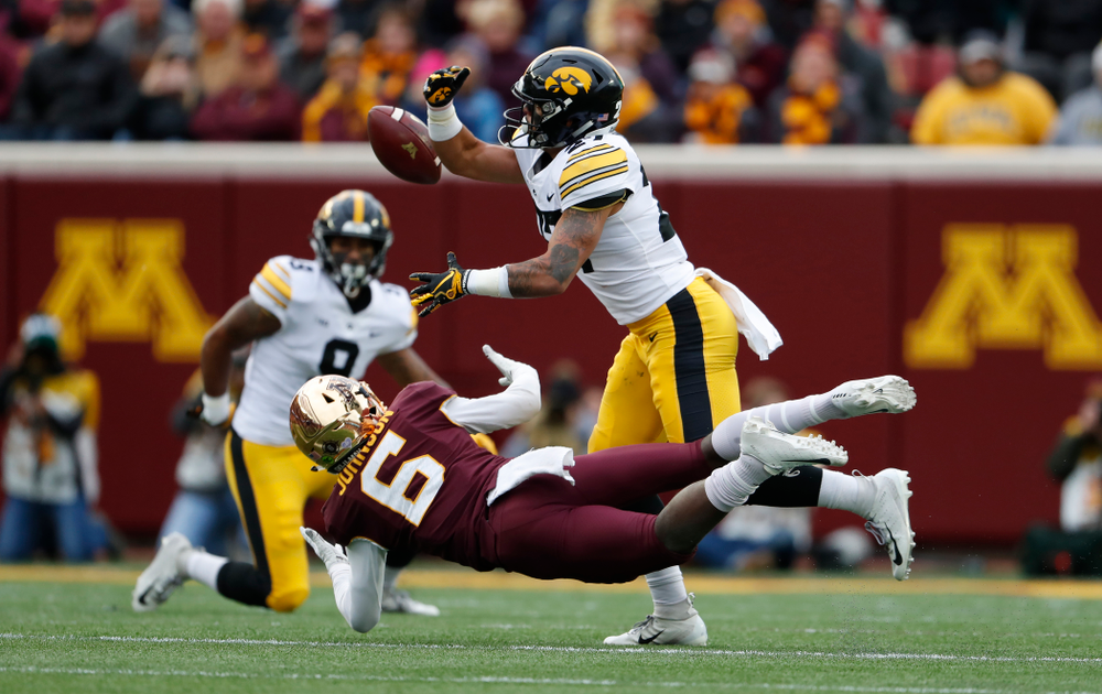 Iowa Hawkeyes defensive back Amani Hooker (27) against the Minnesota Golden Gophers Saturday, October 6, 2018 at TCF Bank Stadium. (Brian Ray/hawkeyesports.com)