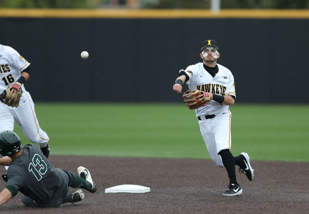 Iowa Hawkeyes infielder Mitchell Boe (4) against Michigan State Sunday, May 12, 2019 at Duane Banks Field. (Brian Ray/hawkeyesports.com)